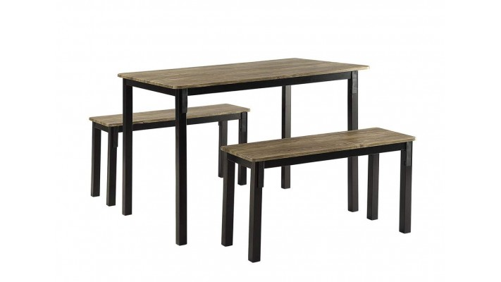 Table Boltzero avec 2 bancs, brun noyer
