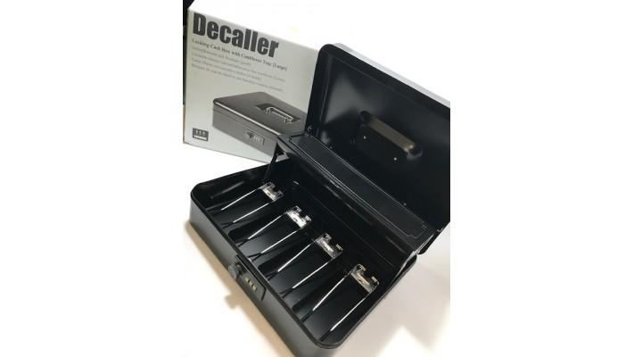 Caisse métallique à porte-à-faux en métal avec serrure à combinaison, Decaller, noire