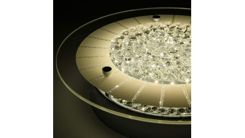 Lustre de plafond encastré DEL fini verre et crystal - Dimmable