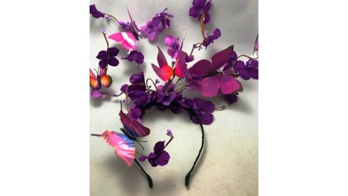 Bandeau rigide pour cheveux décoré de papillons