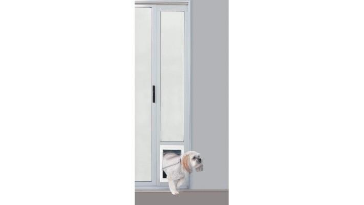 Porte de terrasse avec porte pour petits animaux de compagnie