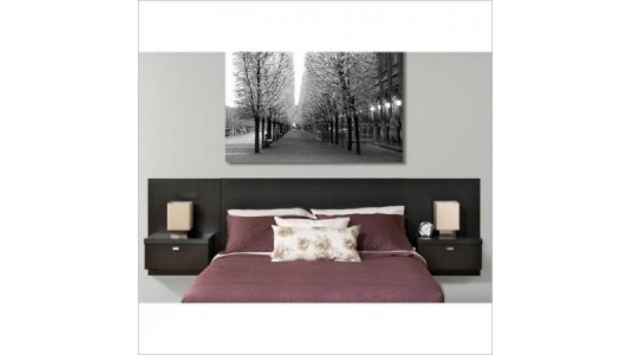 t te de lit et 2 tables de chevet flottantes prepac s rie 9. Black Bedroom Furniture Sets. Home Design Ideas