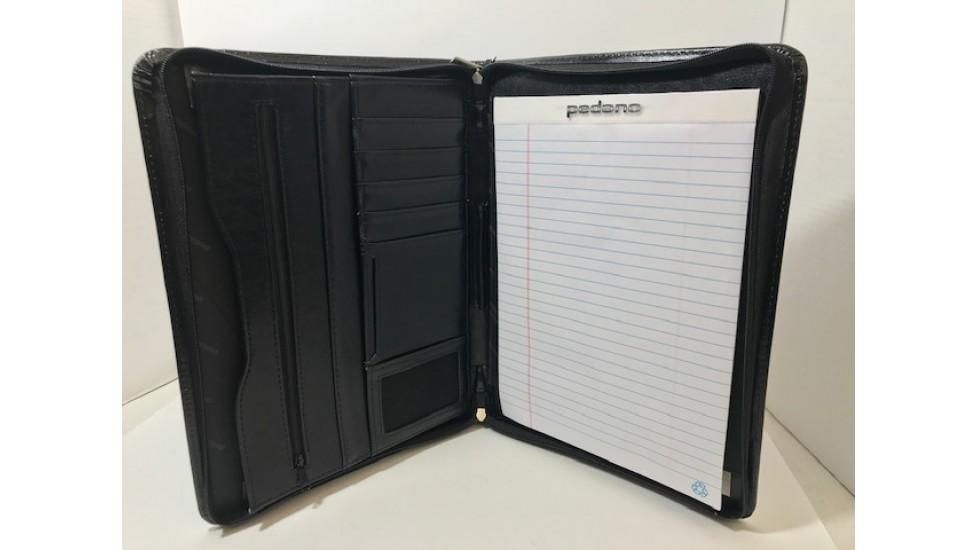 Pedano – Porte-documents en cuir avec fermeture à glissière sur 3 côtés, noir